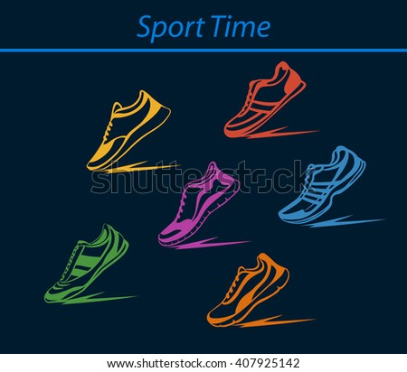 Sport Shoes Set. Fitness Shoes Collection in Different Colors. Indoor, Outdoor, Running, Fitness, Tennis, Walking, Training Sport Sneakers. - stock vector
