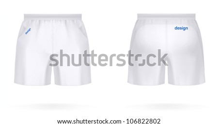 Sport SHORTS, front & rear view. VECTOR illustration, contains lot of details (easy to put your own design on it). - stock vector