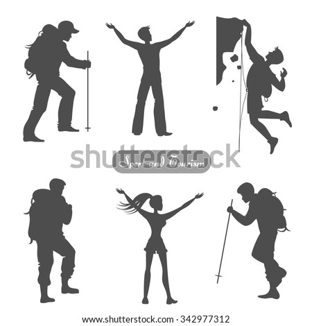 Sport silhouettes. Hiking, climbing, achievement, leader. Vector element for logo/label design. - stock vector