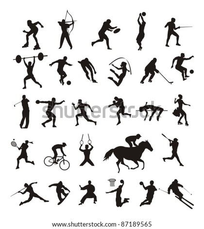sport - silhouttes - stock vector