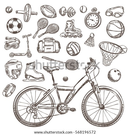 sport sketch equipment drawing doodle collection isolated vector