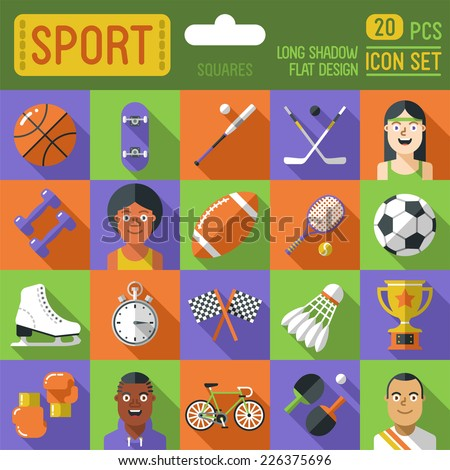 Sport square icon set. Long shadow flat design. Vector illustration.