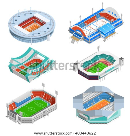 Sport stadium isometric icons set with football and hockey stadiums isolated vector illustration - stock vector