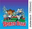 Sport Star Kids - stock vector