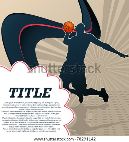 Sport Template Poster Basketball - stock vector