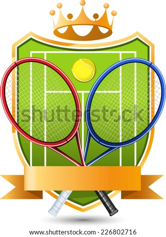 Sport Tennis green Field with racket and ball crowned Emblem vector illustration. - stock vector