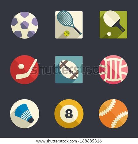 Sport theme flat icon set - stock vector