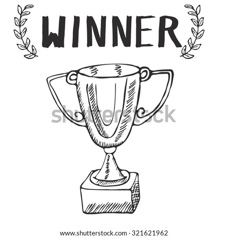 Sport trophy sketch doodle. Hand drawn winners prize on chalkboard background. - stock vector