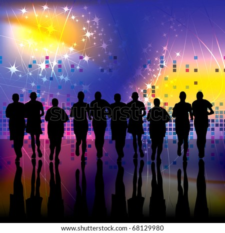 Marathon Runner In Abstract Background Vector Illustration Stock