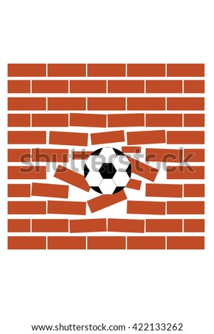 Sport vector illustration with soccer ball coming in cracked wall with grunge texture - stock vector