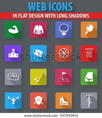 Sport web icons in flat design with long shadows