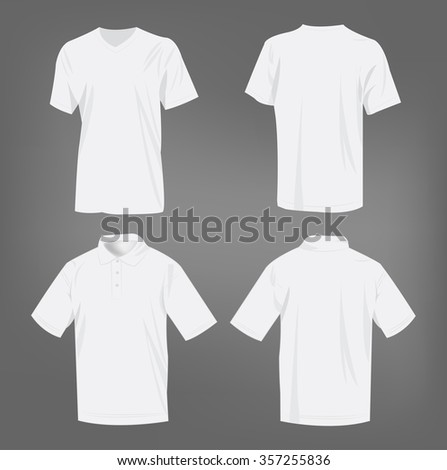 Sport white t-shirt and polo shirt isolated set vector - stock vector
