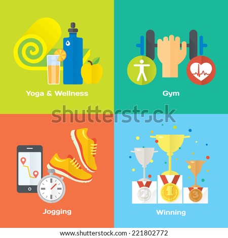 Sport winner concept flat icons of gym, healthy food, metrics. Isolated vector illustration and modern design element - stock vector