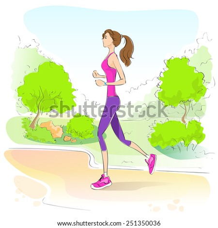 sport woman run with fitness tracker on wrist girl runner jogging in park outdoors training vector illustration - stock vector