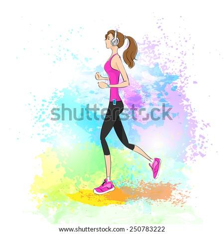 sport woman run with fitness tracker on wrist girl runner jogging over paint splash background training vector illustration - stock vector