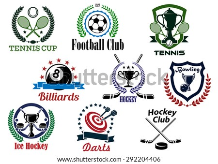 Sporting club and tournament emblems for football or soccer, tennis, billiards, ice hockey, bowling, darts with game items and heraldic elements - stock vector