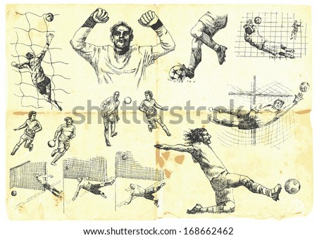 Sporting events around the World: FOOTBALL (SOCCER) no.1. Collection of hand drawn illustrations. Description: Each drawing comprise of one or two layers of outlines, colored background is isolated. - stock vector