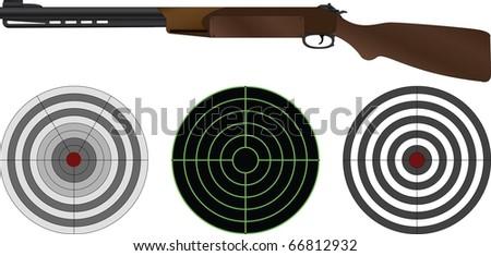 sporting gun and targets. vector illustration - stock vector