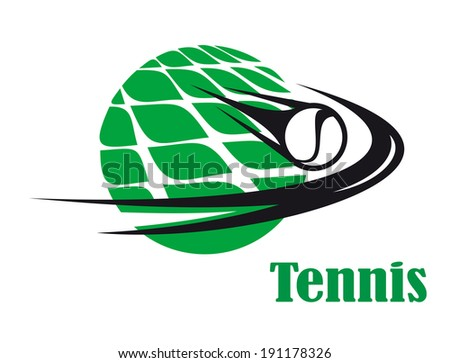 Sporting icon of a tennis ball speeding across a net on a green court for sports logo design - stock vector