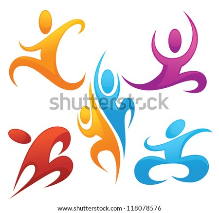 sportive and active, vector collection of symbols - stock vector