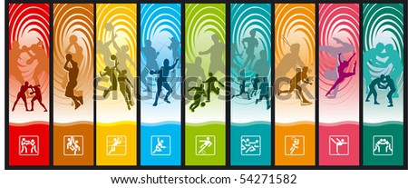 Sportive bookmarks - stock vector