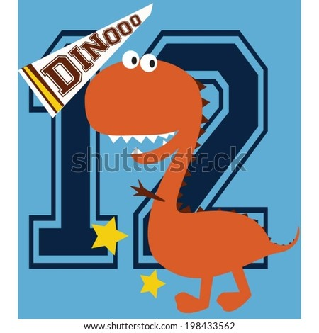 sportmen dinosaur is playing his college football team and his back number is twelve - stock vector
