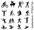 Sports and athletic icon set in black - stock photo