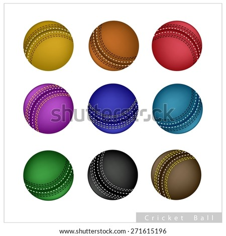 Sports and Fitness symbol, Illustration Collection of Leather Cricket Ball Isolated on A White Background.