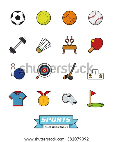 Sports and gymnastics filled line icons vector set 1. Collection of color symbols on white background