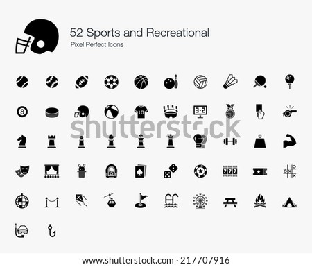 Sports and Recreational Pixel Perfect Icons - stock vector