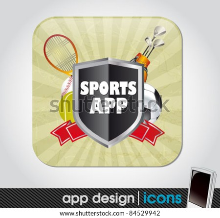 sports app icon for mobile devices - stock vector