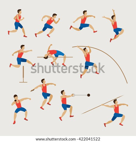 Sports Athletes, Track and Field, Men Set, Games, Action, Exercise - stock vector