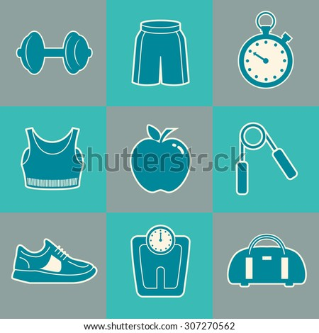 Sports Background with Fitness Icons - stock vector