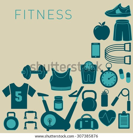 Sports Background with Fitness Icons for Print or Web - stock vector
