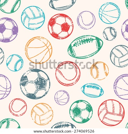 Sports Balls, Grunge Background, Seamless Pattern - stock vector