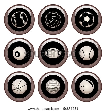 Sports Balls Icons Copper Sports Icon Set