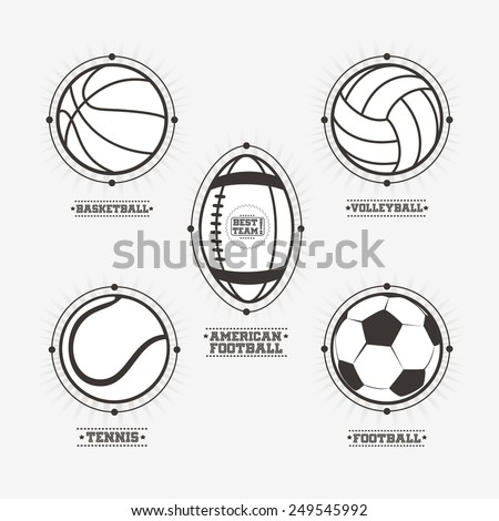 Sports balls logos, emblem. - stock vector