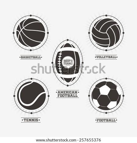 Sports balls logos, emblem - stock vector