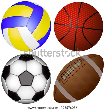 sports balls on a white background