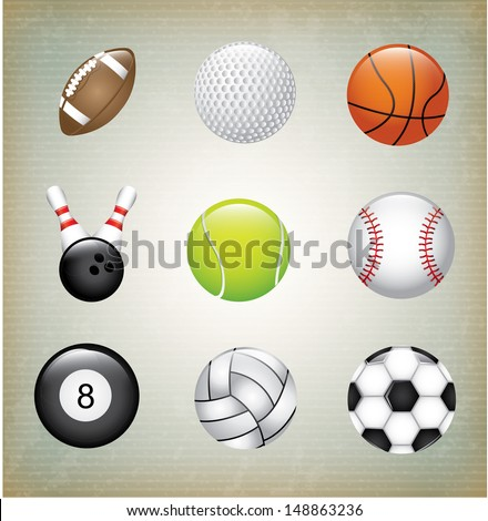 sports balls over gray background vector illustration  - stock vector