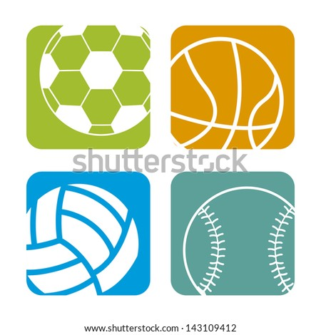 sports balls over white background vector illustration