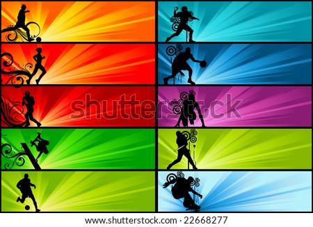 sports banner - stock vector