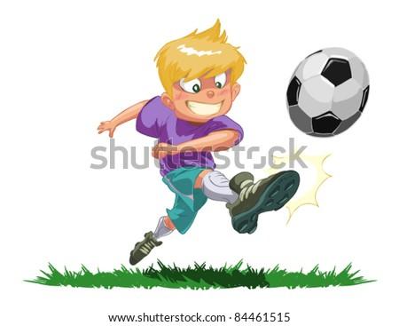 sports boy footballer hits the ball - stock vector