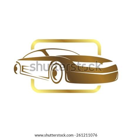 sports car logo template - stock vector