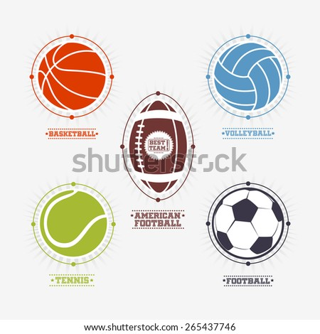 Sports colorful balls logos and emblem with text. - stock vector