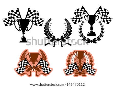Sports emblems or symbols with checkered flags and design elements or idea of logo. Jpeg version also available in gallery - stock vector