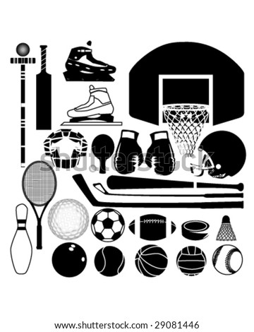 Sports equipment and balls in detailed vector silhouette