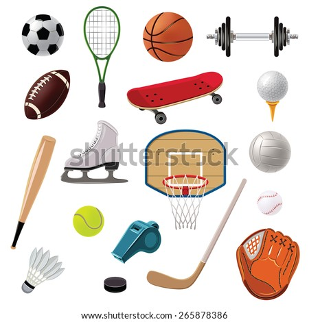 Sports equipment decorative icons set with game balls rackets and accessories isolated vector illustration - stock vector