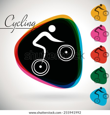 Sports Event icon/symbol - Cycling. 1 Multicolor and 5 monotone options. - stock vector