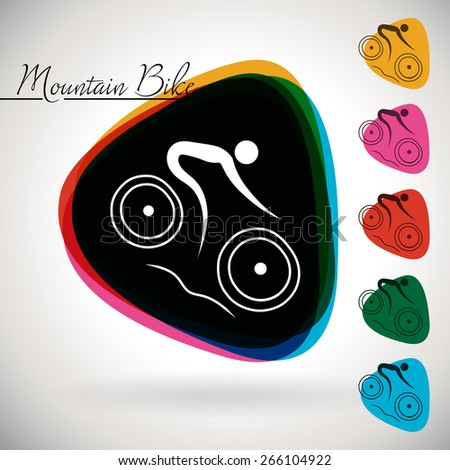 Sports Event icon/symbol - Mountain biking.. 1 Multicolor and 5 monotone options.
